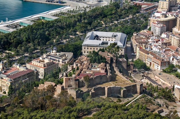 Aerial view of malaga with alcazaba