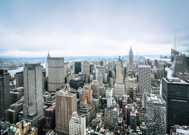 An aerial view over manhattan in new york city