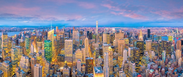 Aerial view of manhattan skyline at sunset, new york city in united states