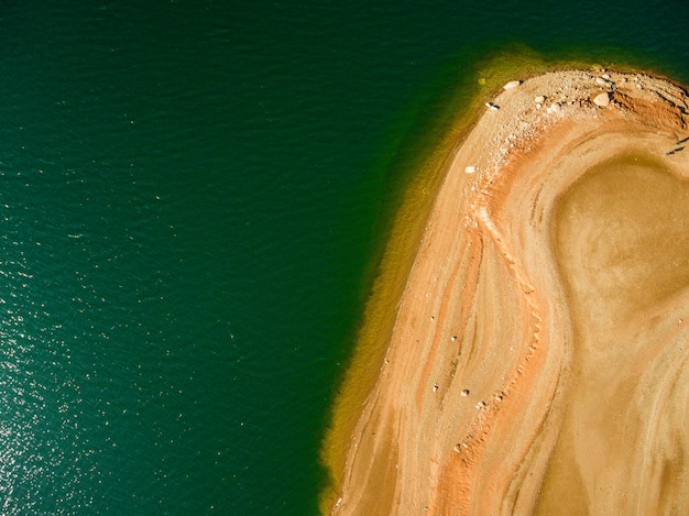 Aerial view of the marsh of sau in spain. bird's eye images.