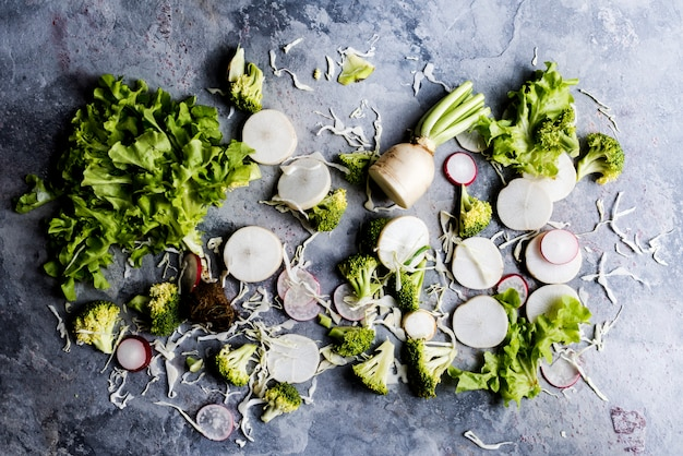 Aerial view of mixed fresh cut vegetable on grunge background
