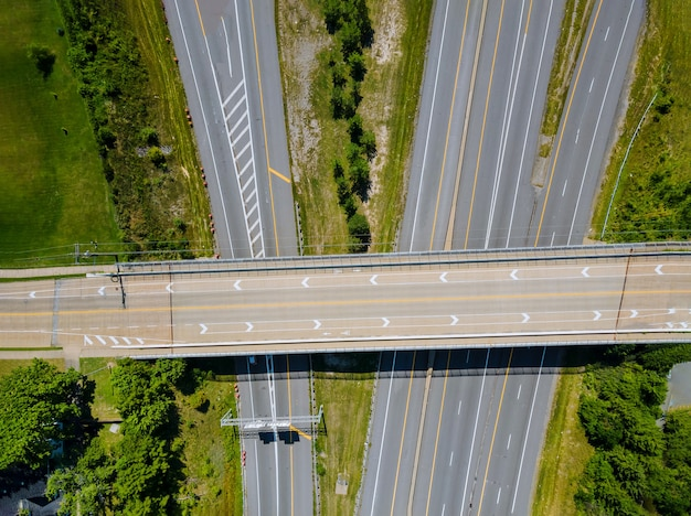 Aerial view of modern transportation with highway interchange multiple road interchanges cleveland ohio usa