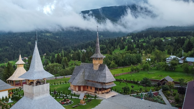 Aerial view of monastery borsa pietroasa in maramures region of romania.