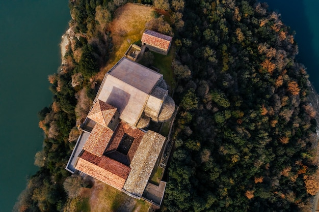 Aerial view of a monastery