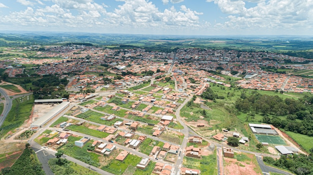 Aerial view of the monte santo de minas city, minas gerais / brazil.