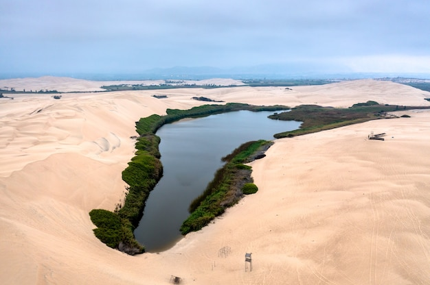 Aerial view of the moron oasis in pisco, peru