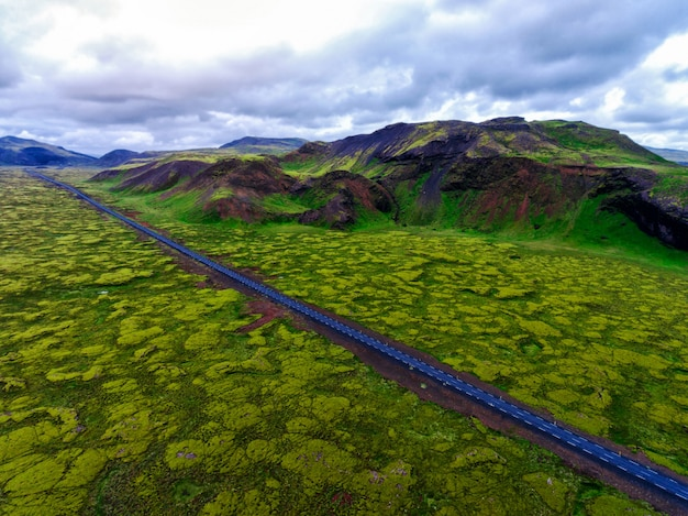 Aerial view of mossy lava field in iceland.