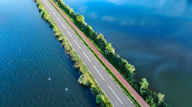Aerial view of motorway road