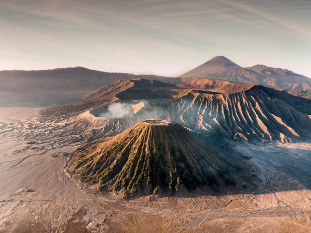 Aerial view mount an active volcano bromo, batok and semeru