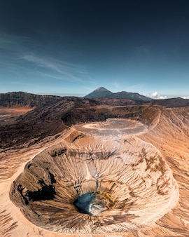 Aerial view of mount bromo crater is an active volcano in bromo tengger semeru national park at east java