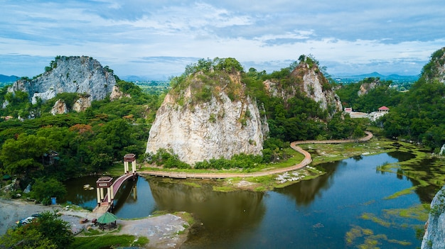 Aerial view of mount khao ngoo rock park or thueak khao ngu, ratchaburi ancient monuments in ratchab