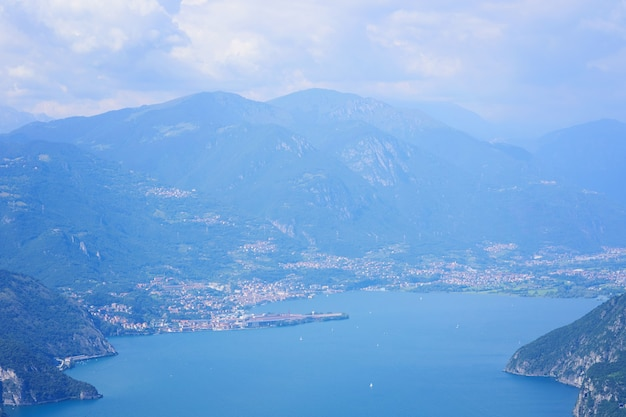 Aerial view of mountain lake iseo forested mountains various villages scattered along the slopes and