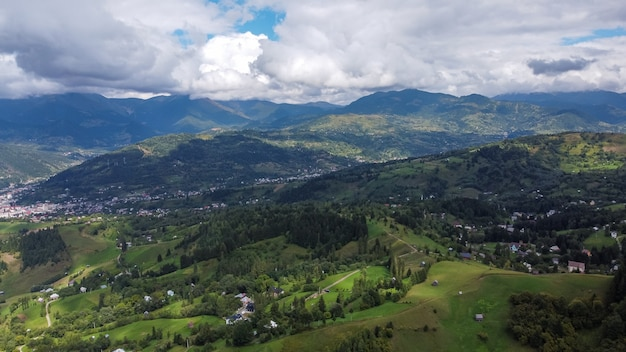 Aerial view of mountain region in maramures, romania.