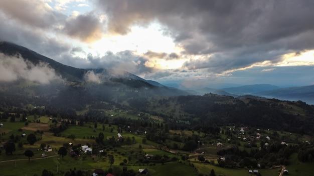 Aerial view of mountain region village in maramures, romania.