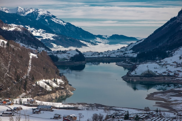 Aerial view of mountains lake lungernersee, lungern, switzerland
