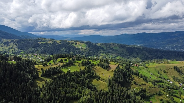 Aerial view of mountains landscape in rodna mountains of romania.