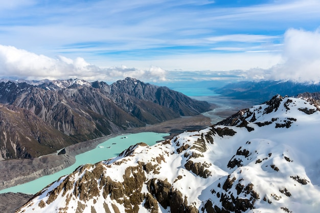 Aerial view of mountains in new zealand