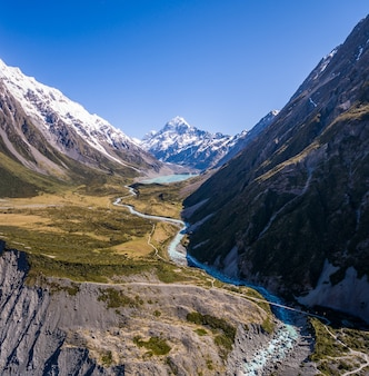 Aerial view of mt cook landscape in hooker valley, aoraki mt cook national park, new zealand.