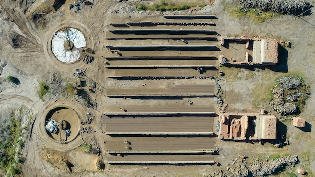 Aerial view of mud brick factory.