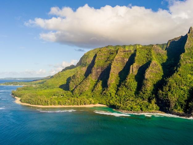 Aerial view of the na pali coastline in hawaii