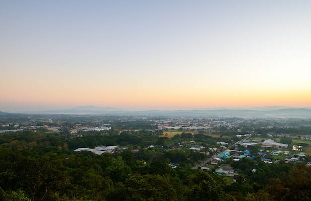 Aerial view of nan city on morning with sunlight. northern of thailand