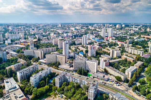 Aerial view of the national technical university of ukraine, also known as igor sikorsky kyiv polytechnic institute. kiev, ukraine