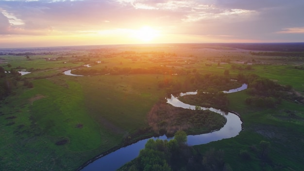 Aerial view of natural landscape with a river