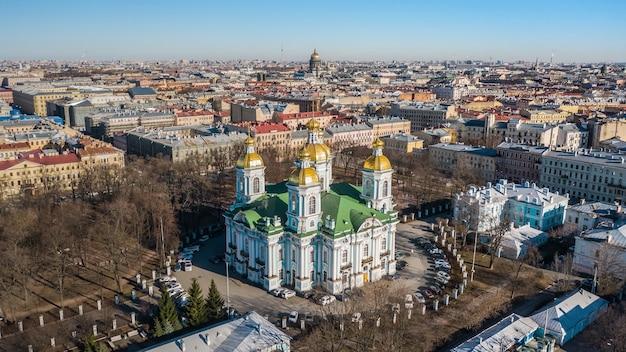 Aerial view of naval cathedral of st nicholas in st. petersburg. nikolo-bogoyavlenskiy morskoy sobor