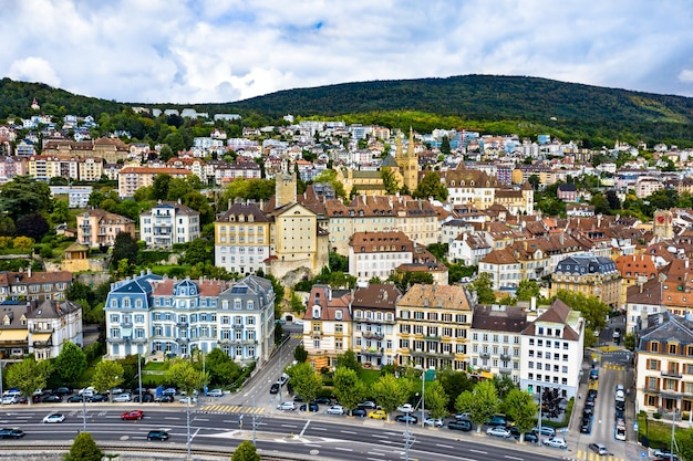 Aerial view of neuchatel with the church and the castle, switzerland