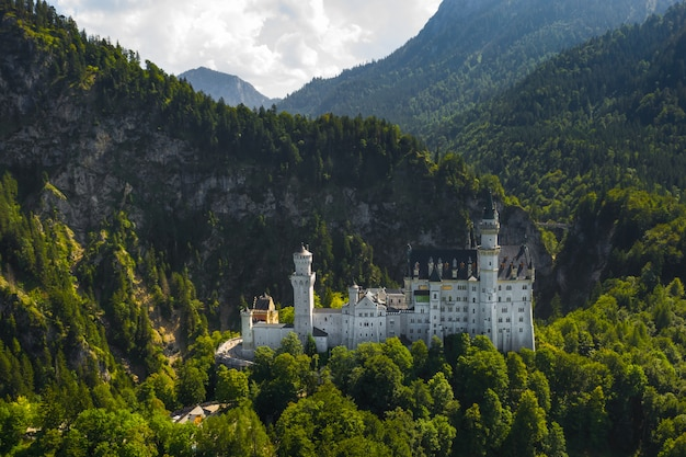 Aerial view on neuschwanstein castle schwangau, bavaria, germany. drone picture of alps landscape with trees and mountains.