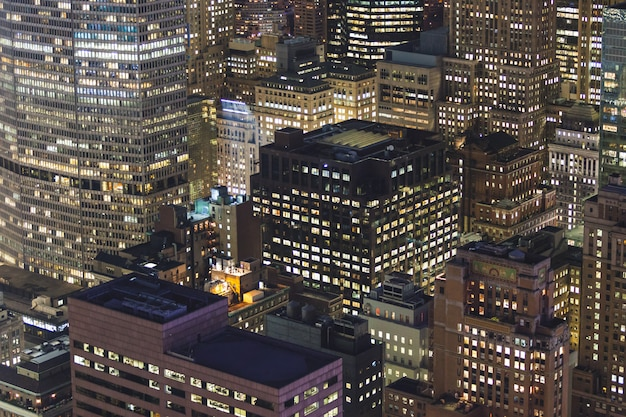 Aerial view of new york at night