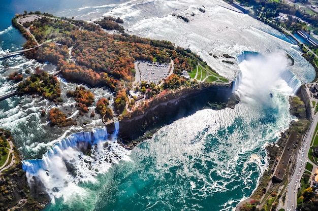 Aerial view of niagara waterfall in the autumn