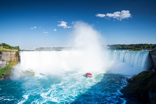 Aerial view of niagara waterfall.