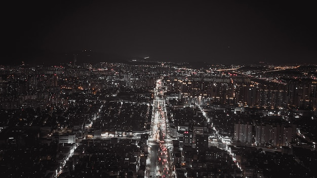 Aerial view on night streets of seoul
