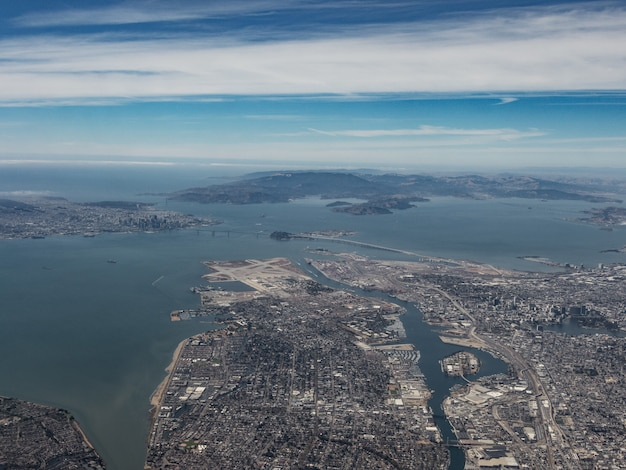 Aerial view of oakland and the san francisco bay area from the southeast