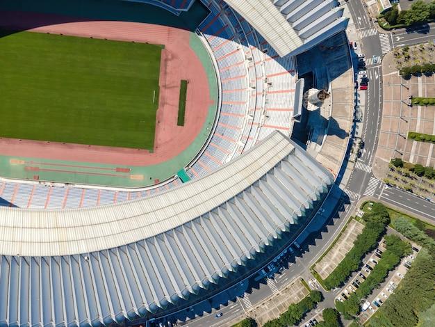 中国の都市のサッカースタジアムの空撮