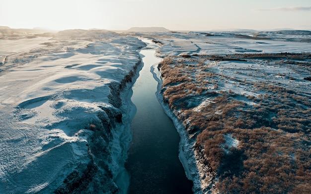 ターコイズブルーの水が溶ける氷の気候変動と地球規模のwarmiがあるアイスランドの川の航空写真