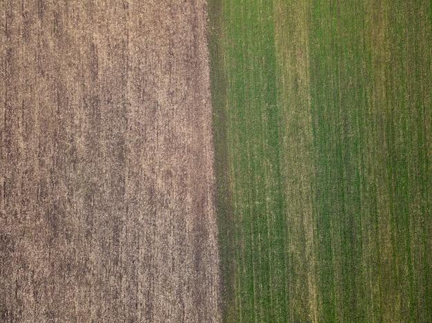 봄 날에 시골에서 두 농업 분야의 공중보기