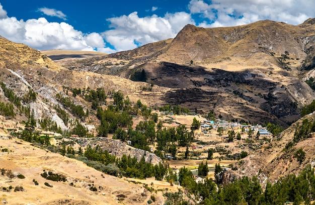 페루 안데스 산맥에 있는 마을의 항공 보기