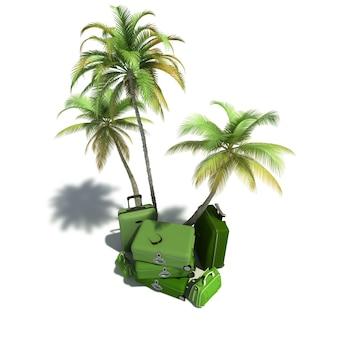 Вид с воздуха на остров, похожий на композицию, показывающий тропическую растительность и красивый зеленый багаж