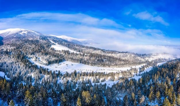 晴れた雲ひとつない日に雪とモミの森に覆われた美しい冬の山の斜面の空撮。ヨーロッパのスキーリゾートの美しさの概念 Premium写真