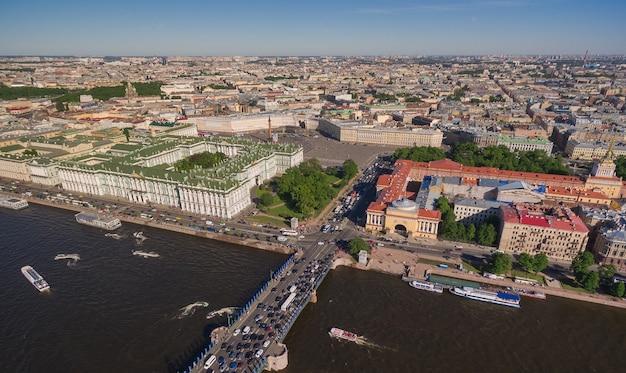 サンクトペテルブルク中心部の航空写真。アドミラルティ、ドヴォルツォヴァヤ広場、エルミタージュ