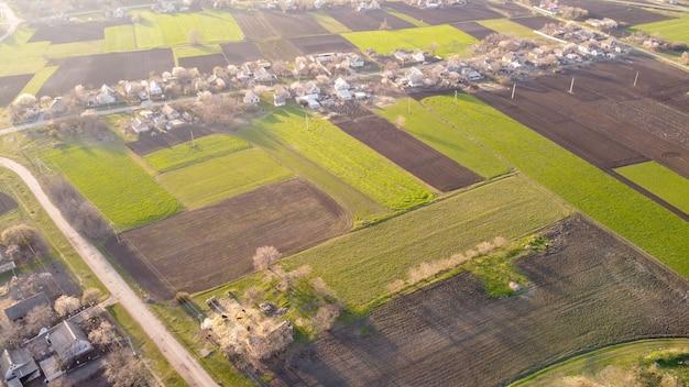 시골의 공중 전망입니다. 농업 경관