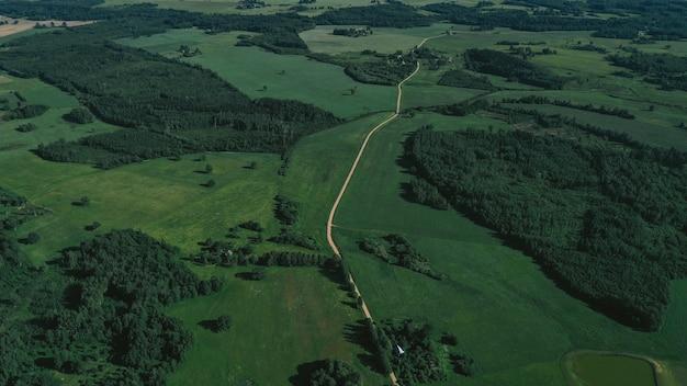 田園地帯と鉄道の空撮