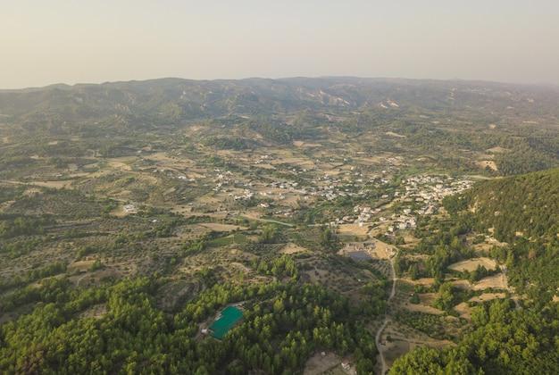 田園地帯、ロードス島、ギリシャの空撮