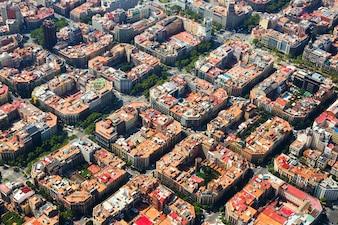 Eixample地区の航空写真スペイン、バルセロナ