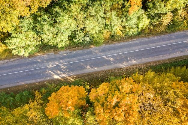 Вид с воздуха на пустой дороге между желтые деревья падения.
