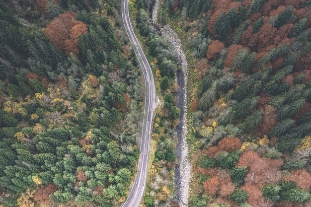 空の道路の航空写真