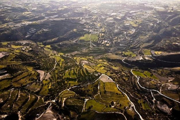 Вид с воздуха на поля фермы