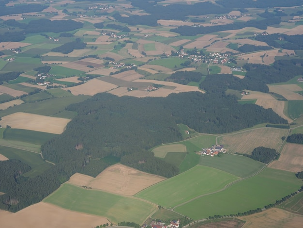 ドイツの風景の空撮